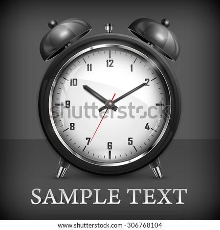 Metallic retro alarm clock on black, vector illustration - stock vector