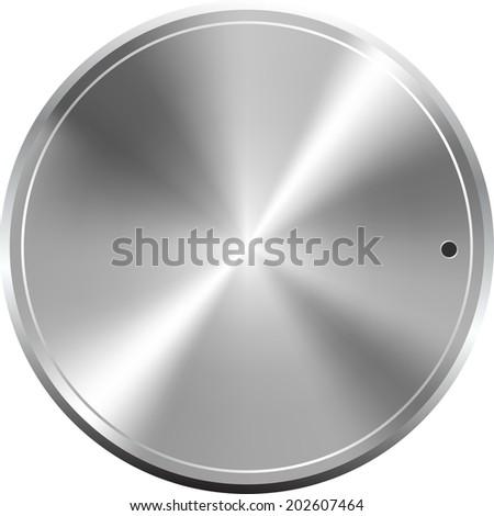 Metallic round button, vector icon - stock vector