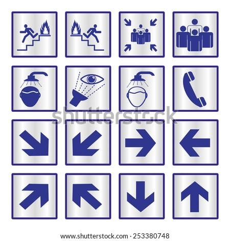 Metallic safety sign set - stock vector
