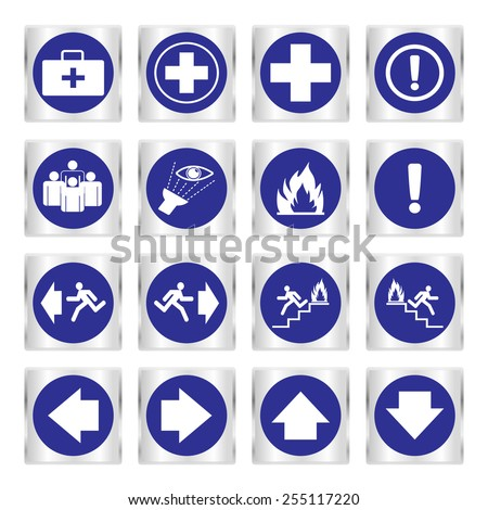 Metallic safety sign. Vector illustration set of blue emergency exit signs - stock vector