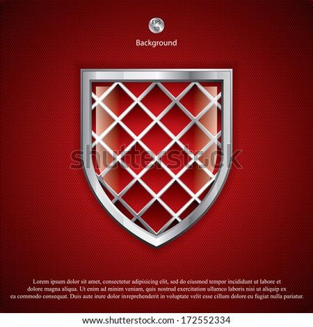 Metallic security shields.Vector - stock vector