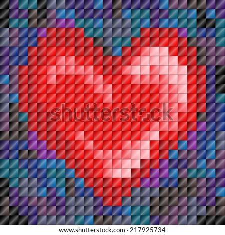 Metallic sheen mosaic tiles in heart shape, Valentine's day or love - stock vector