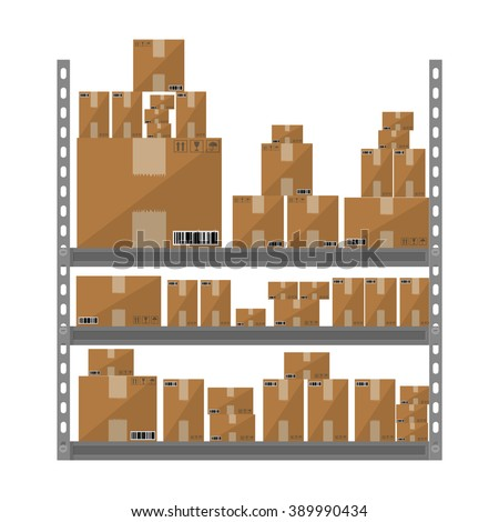 Metallic shelves with cartoon brown boxes. part of warehouse. vector illustration in flat design isolated on white background - stock vector