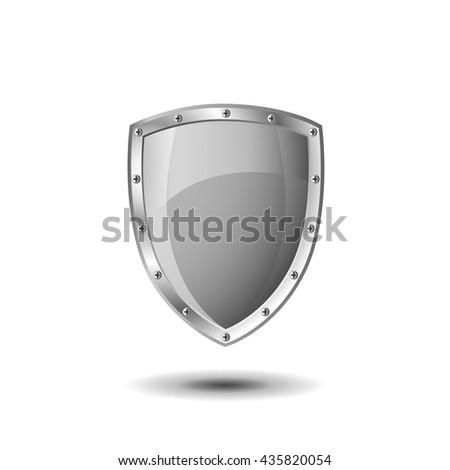 Metallic shield - stock vector