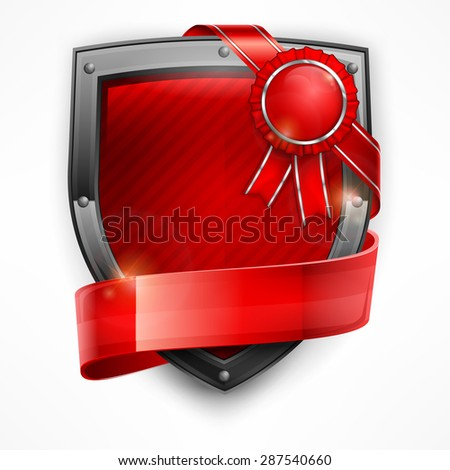 Metallic shield with red ribbon and award on white, vector illustration - stock vector