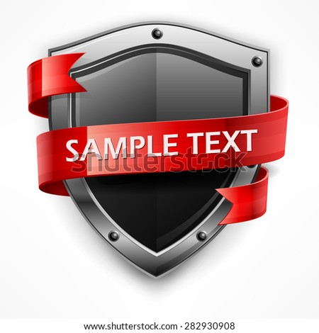 Metallic shield with red ribbon & text on white, vector illustration - stock vector