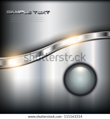Metallic shiny background with glossy button, vector. - stock vector