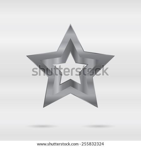 Metallic sign. stainless 3d element - vector star. - stock vector