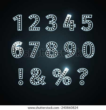 Metallic silver number letters collection - eps - stock vector