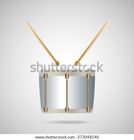 metallic snare drum  icon on silver background.Vector EPS 10 - stock vector