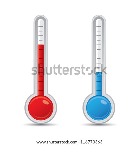 Metallic thermometer with scale measuring heat and cold, vector illustration