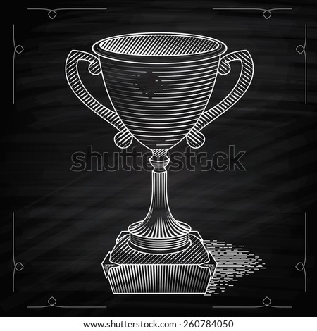 Metallic trophy cup first place winner award. Icon of gold champions cup. Illustration on chalkboard. Vector cup. Hand drawn trophy - stock vector