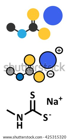 Metam sodium pesticide molecule. Stylized 2D renderings and conventional skeletal formula. - stock vector