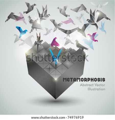 Metamorphosis, Origami abstract vector illustration. - stock vector