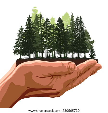 Metaphor about hands holding a group of trees like a forest. Editable vector illustration with elements as separate objects. - stock vector