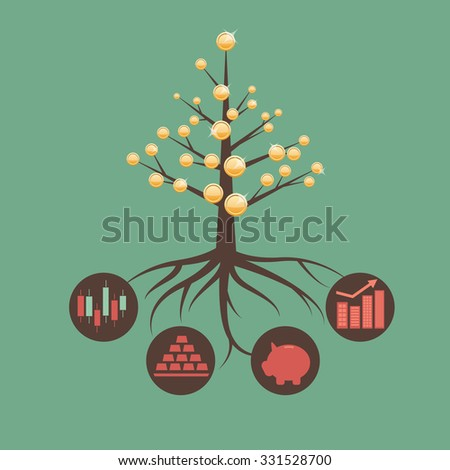 Metaphor of investment and asset management - stock vector