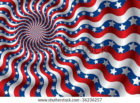 Metaphor of USA flag abstraction distorted by the wind(vector, CMYK) - stock vector