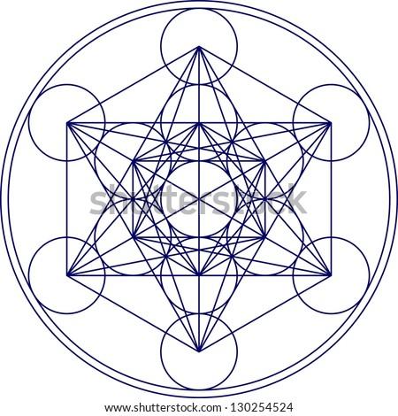 Metatrons Cube - Flower of life - stock vector