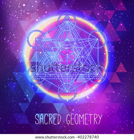 Metatrons Cube,  Flower of life. Sacred geometry abstract background. Good design for textile t-shirt print, flyer and poster background. Futuristic vector illustration in bright neon colors.  - stock vector