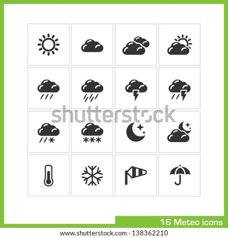 Meteo icon set. Vector black pictograms for web, computer and mobile apps, internet, interface design: weather cast, sun, cloud, rain, snow, moon, night, thermometer, snowflake, wind, umbrella symbol - stock vector