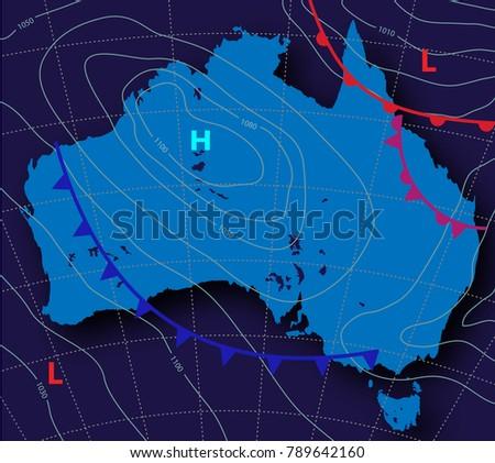 Meteologic weather forecast on map australia stock vector 2018 meteologic weather forecast on the map of australia on a dark background vector illustration gumiabroncs Choice Image