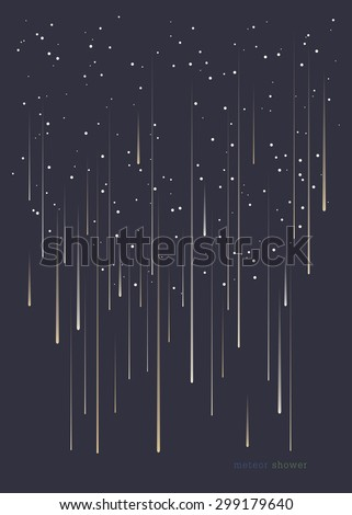 Meteor shower minimal design background in portrait format. - stock vector