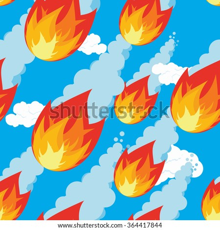 Meteor shower seamless pattern. falling Comet oranment. Texture of fireball. Flying meteorite ornament. Outer body of fire flies. Cosmic threat of destruction - stock vector