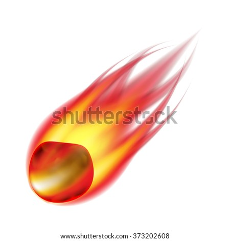 Meteorite isolated on white photo-realistic vector illustration - stock vector