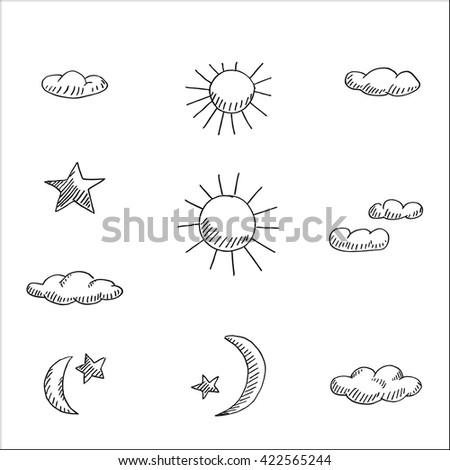 meteorological sign and symbol icon set vector hand drawn sketch illustration