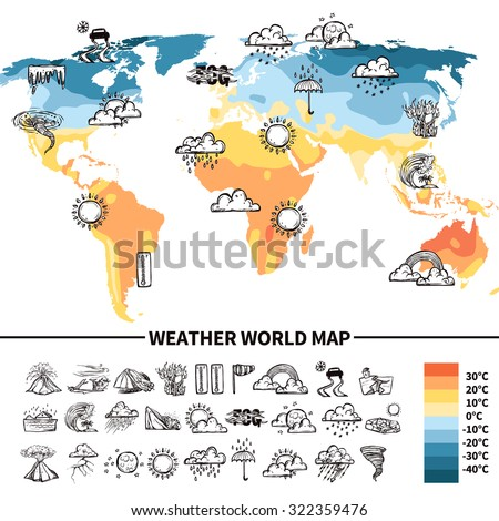 Meteorology design concept sketch weather forecast vector de meteorology design concept with sketch weather forecast symbols on world map vector illustration gumiabroncs Images