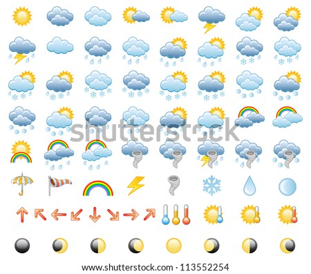 Meteorology Icons Set; Vector Illustration - stock vector