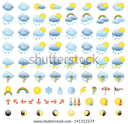 Meteorology Icons Set. Vector Illustration. - stock vector