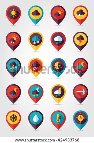 Meteorology Weather flat pin map icons set. Weather map pointers. Vector illustration eps 10