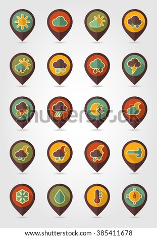 Meteorology Weather retro flat pin map icons set. Map pointer. Map markers. Vector illustration eps 10