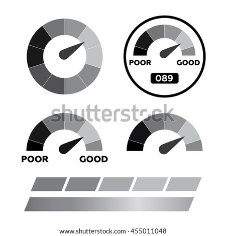 Meter icons. Symbols of speedometers, manometers eps10 - stock vector