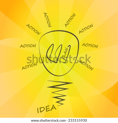 Method for planning business process or business plan concept light bulb background poster - stock vector