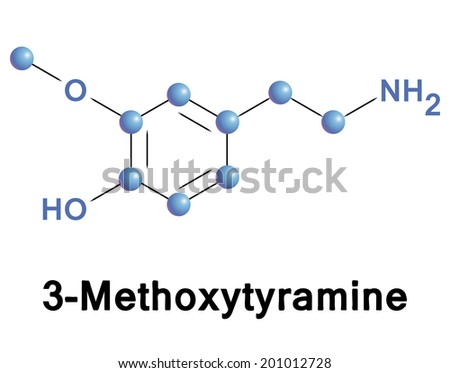 Methoxytyramine molecule, vector illustration. - stock vector
