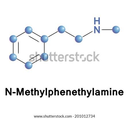 Methylphenethylamine molecule, vector illustration. - stock vector