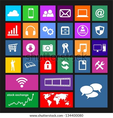 Windows 8 Icon Vector Metro icon set - stock vectorWindows 8 Vector Icon