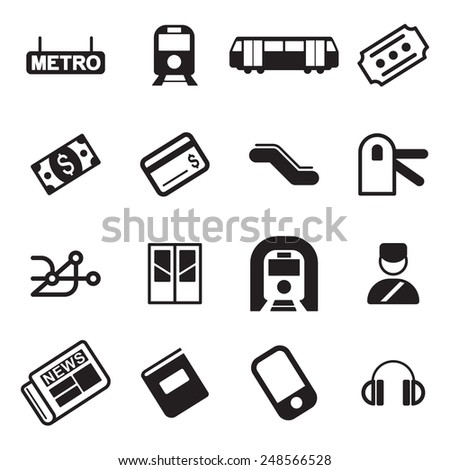 Metro Or Subway Icons  - stock vector