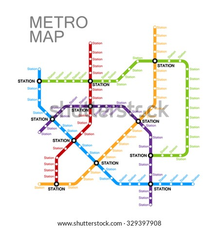 metro or subway map design template. city transportation scheme concept. rapid transit vector illustration  - stock vector