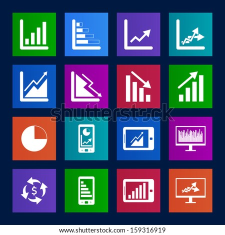 Metro style collection of Business Graph icon set