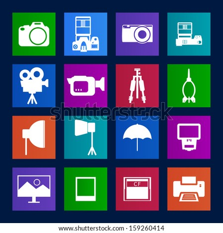 Metro style collection of Camera and accessory icons.Vector EPS10 - stock vector