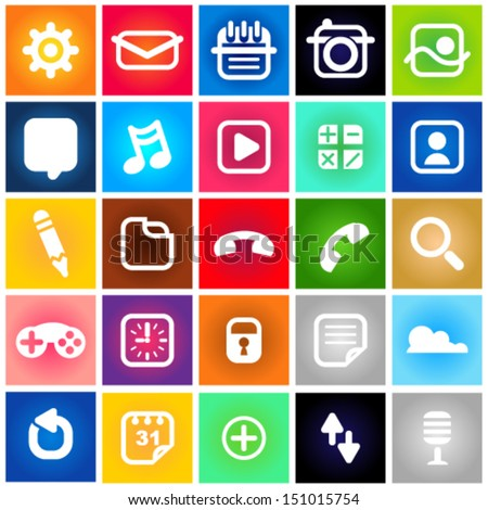 Metro Style Collection Set Icons. - stock vector
