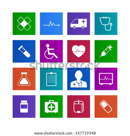 Metro-style Medical Icons Collection Vector icon set. EPS 10