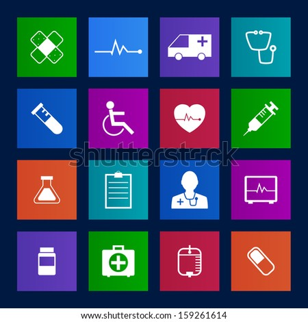 Metro style Medical Icons Collection Vector icon set. EPS 10 - stock vector