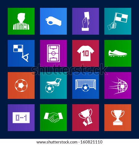 Metro style Soccer football icons vector eps10 - stock vector