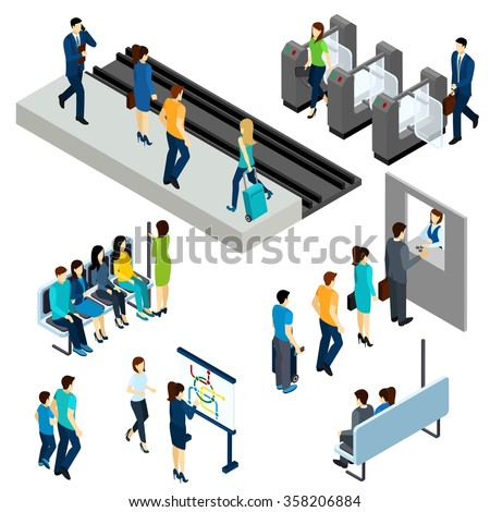 Metro underground station isometric icons composition poster with  passengers entering platform through the ticket barrier abstract vector illustration - stock vector