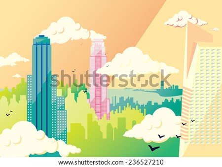 Metropolis flat illustration by day: skyline of  skyscrapers with clouds and birds. Vector colorful image, pastel colors, long shadow - stock vector