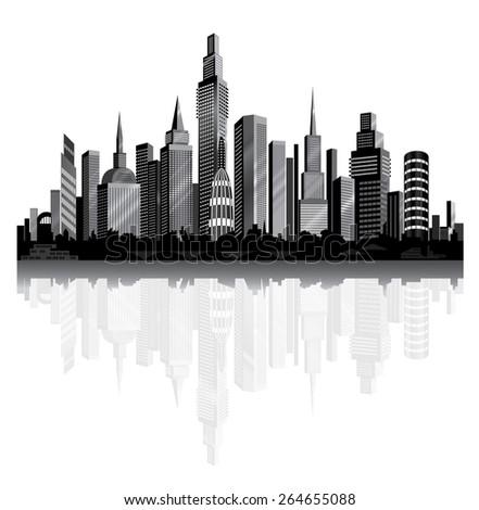 Metropolis on the river. Vector City Panorama. - stock vector